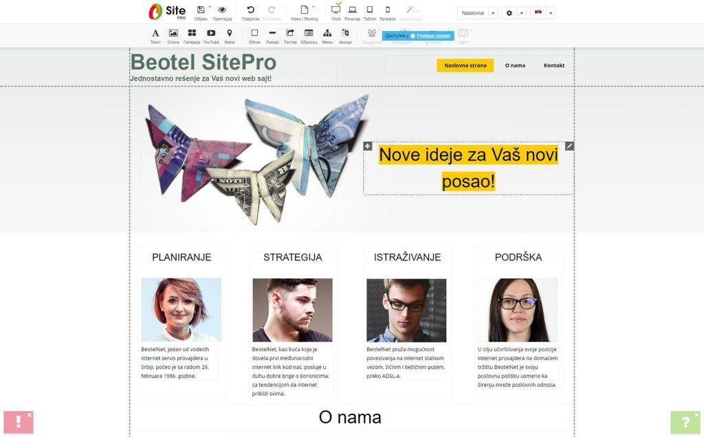 kako napraviti sajt besplatno uz site pro